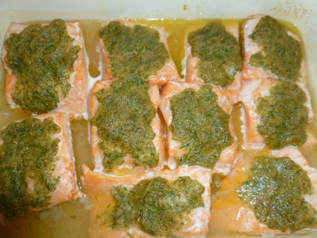 Slamon with dill mustard topping Ronit Penso