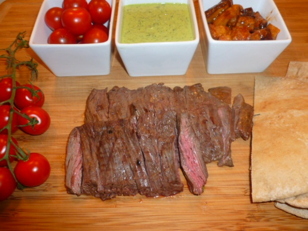 Skirt steak green tahini Ronit Penso
