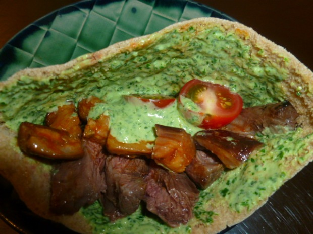 Skirt Steak with Green Tahini and Spicy Eggplant Salad Ronit Penso