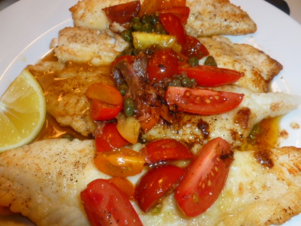 Lemon Sole with Cherry Tomatoes pan sauce Ronit Penso