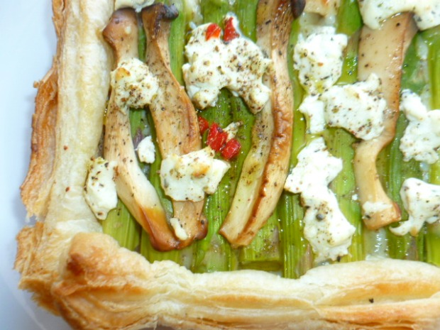 Asparagus, King Oyster Mushrooms and Goat cheese Tart Ronit Penso