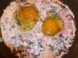 Yogurt poached eggs with Beet Greens Ronit Penso