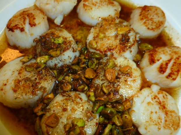 Scallops with Brown Butter Pistachio sauce Ronit Penso