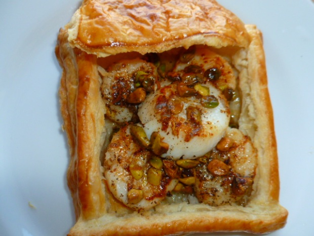 Scallops with Brown Butter Pistachio sauce, in Puff Pastry Case Ronit Penso