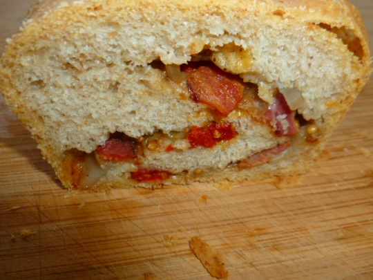 Bread Roulade with Bacon-Onion Chutney