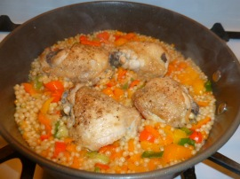 Chicken Thighs with Israeli Couscous and Peppers Ronit Penso