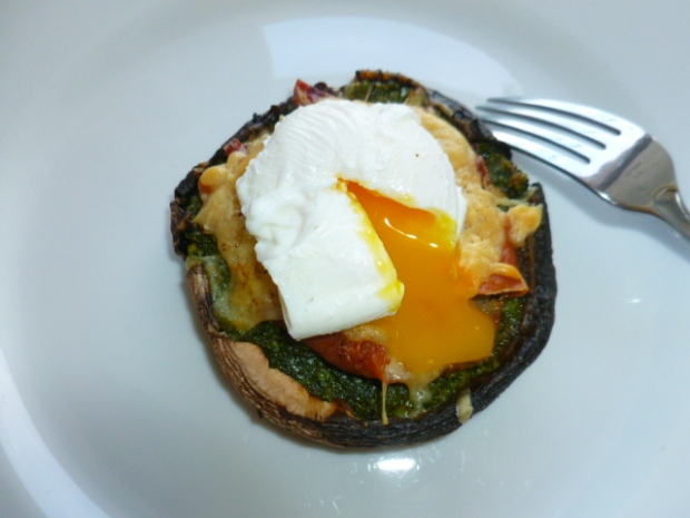 Baked Portobello Caps with Pesto, Prosciutto and Poached Eggs Ronit Penso