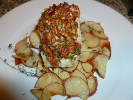 Chilean Sea Bass with Pecan Bacon Crust Ronit Penso