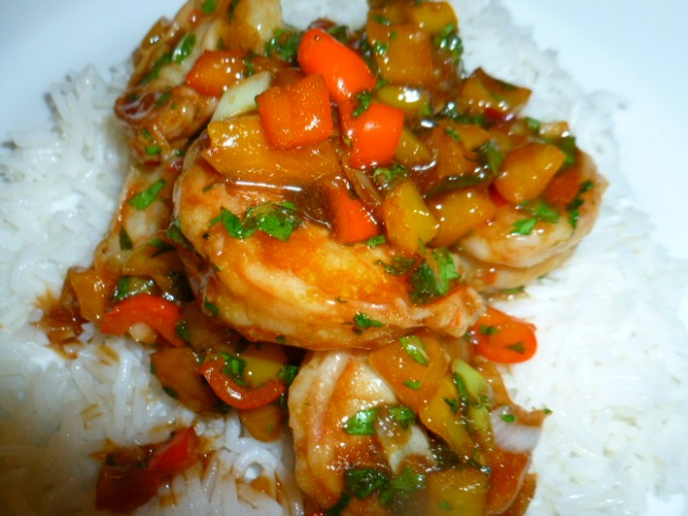 Shrimps with Peppers and Herbs, on Basmati Rice Ronit Penso