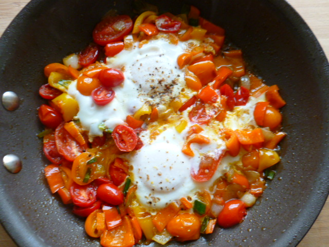 Eggs with Scallions, Cherry Tomatoes and Mini Peppers Ronit Penso