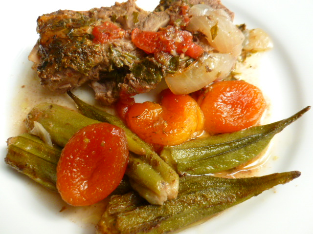 Lamb Stew with Tomatoes ,Okra and Dried Apricots
