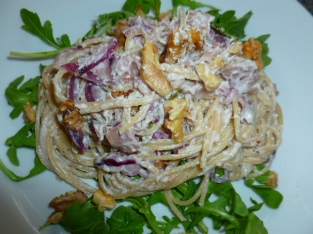 Spaghetti with Goat Cheese, Prosciutto and Walnuts Ronit Penso