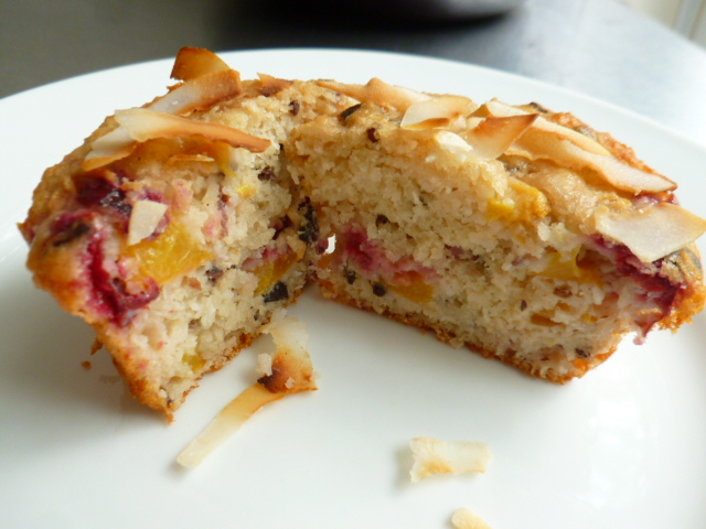 Peach, Cherries, Coconut and Cacao Nibs Muffins Ronit Penso