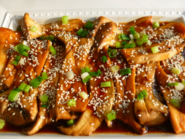 King Oyster Mushrooms With Soy Sauce Maple Syrup And Sesame Oil Tasty Eats